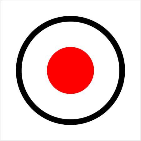 Record Button Icon, Audio Video Recording Start Button Vector Art Illustration