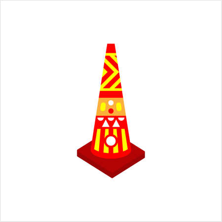 Cone Construction Barrier Icon, Traffic Cone Vector Art Illustration