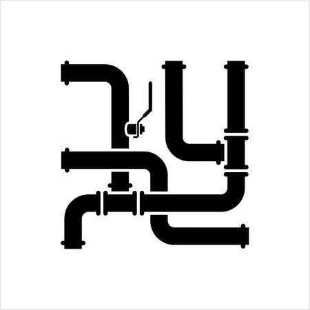 Pipe Icon, Pipe Fitting Icon, Water, Gas, Oil Pipeline, Plumbing Work Vector Art Illustration