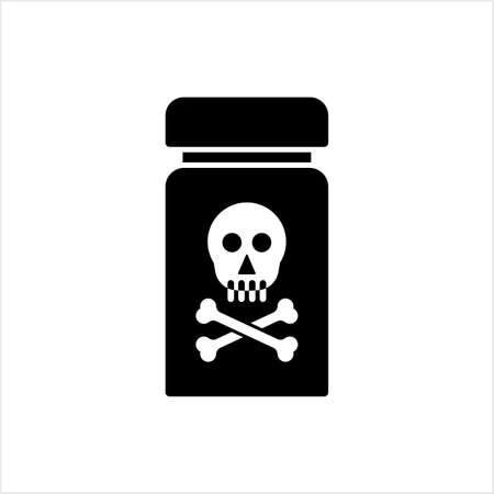 Poison Bottle Icon, Toxic Liquid Vector Art Illustration Illusztráció