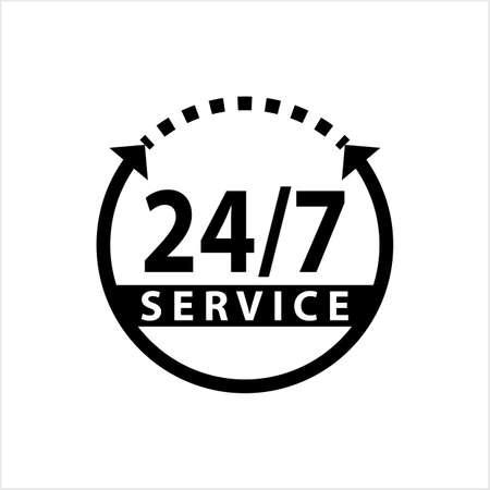 Service 247 Icon Vector Art Illustration