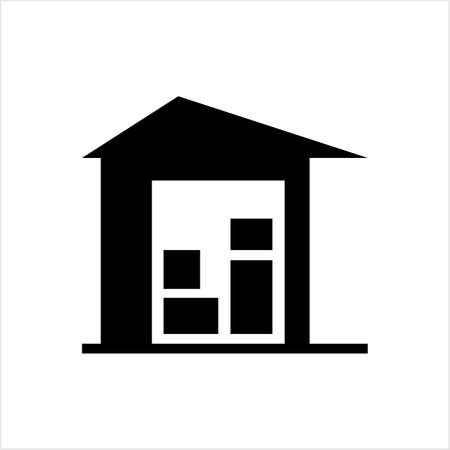 Warehouse Icon, Warehouse Vector Art Illustration Illusztráció