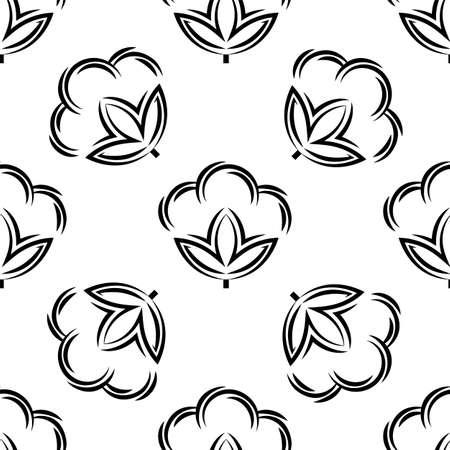 Cotton Flower Icon Seamless Pattern, Cotton Ball, Cotton Fiber Seamless Pattern Vector Art Illustration Ilustração