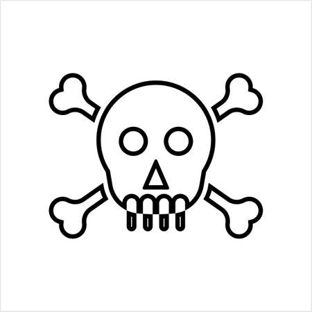 Skull And Crossbones Icon, Skull, Cross Bones Vector Art Illustration