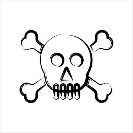 Skull And Crossbones Icon, Skull, Cross Bones Vector Art Illustration