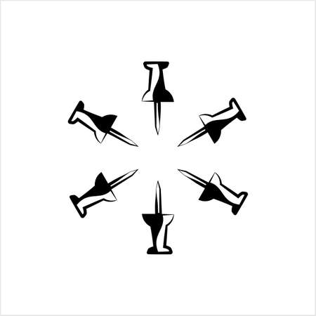 Drawing Pin Icon, Push Pin Vector Art Illustration