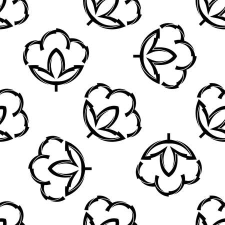 Cotton Flower Icon Seamless Pattern, Cotton Ball, Cotton Fiber Seamless Pattern Vector Art Illustration Illusztráció