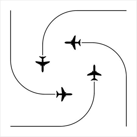 Airplane Flying Formation, Air Show Display, The Disciplined Flight Vector Art Illustration