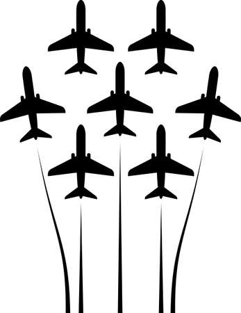 Airplane Flying Formation, Air Show Display, The Disciplined Flight Vector Art Illustration Ilustracje wektorowe