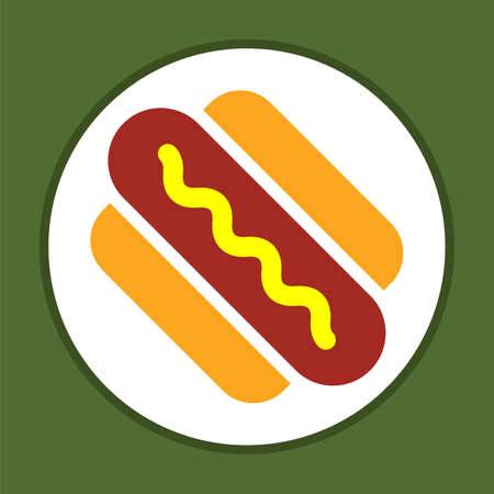 Hot Dog Icon Vector Art Illustration Illustration