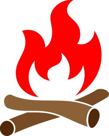 Campfire Icon, Camp Fire Vector Art Illustration Illustration