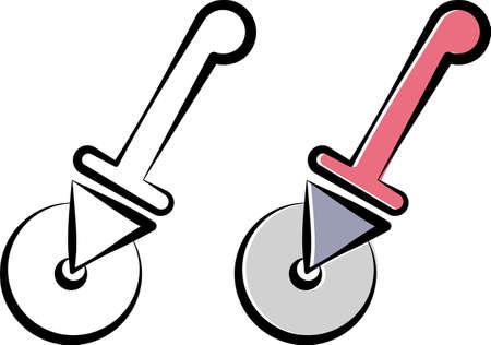 Pizza Cutter Icon, Pizza Slice Cutter Vector Art Illustration