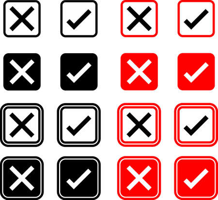 Cross Mark Icon, Delete Mark Collection Vector Art Illustration Vecteurs