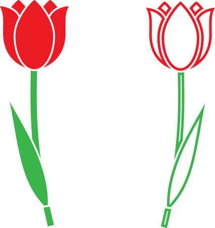 Tulip Icon, Flower Icon Vector Art Illustration