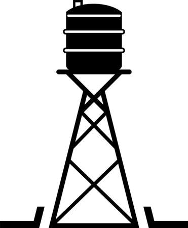 Water Tower Icon Vector Art Illustration