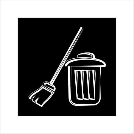 Trash Can And Broom Vector Art Illustration