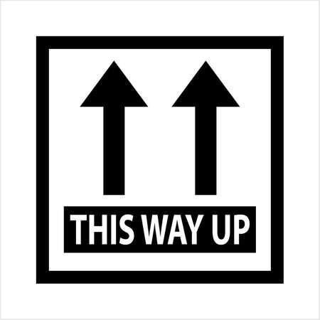 Continuez, flèche vers le haut, l'icône de l'étiquette de gestion des colis Vector Art Illustration