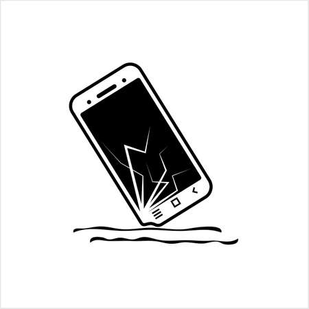Broken Screen Smart Phone Icon, Cracked Display Vector Art Illustration