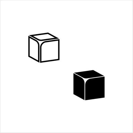 Cube Icon, 3d Line Art Design Vector Art Illustration
