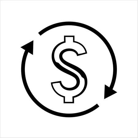 Money Change Icon, Currency Change Icon Vector Art Illustration Иллюстрация