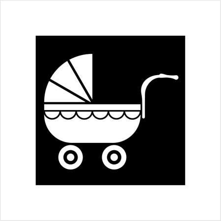 Pram Icon, Baby Carriage Icon Vector Art Illustration