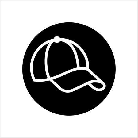 Baseball Cap Icon, Base Ball Hat Design Vector Art Illustration
