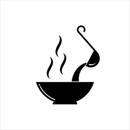 Pouring Soup With Ladle On Bowl Icon Vector Art Illustration