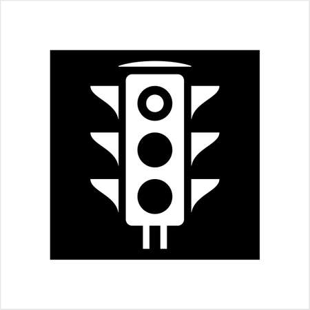Traffic Light Icon, Traffic Control Light Vector Art Illustration Illusztráció