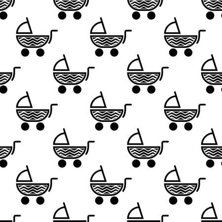 Baby Carriage Icon Seamless Pattern Vector Art Illustration
