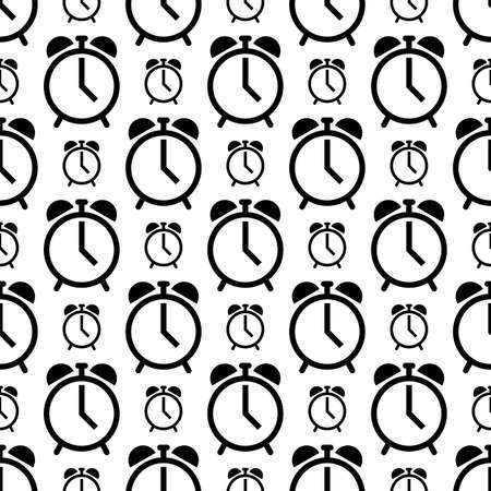 Alarm Clock Icon Seamless Pattern Vector Art Illustration Illustration