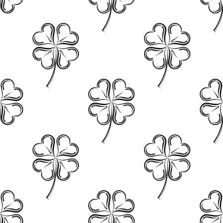 Clover Four Leaf Shamrock Seamless Pattern Vector Art Illustration