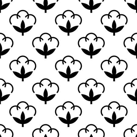 Cotton Flower Icon Seamless Pattern, Cotton Ball, Cotton Fiber Seamless Pattern Vector Art Illustration  イラスト・ベクター素材