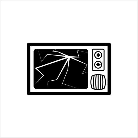 Cracked Tv Screen Icon Vector Art Illustration