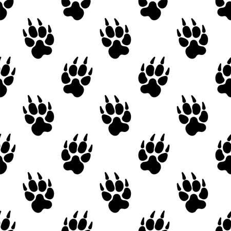 Paw Print Icon Seamless Pattern, Dog, Cat, Fox Foot Imprint Vector Art Illustration Иллюстрация
