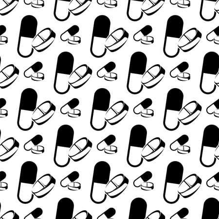 Seamless Pattern Of Capsule Pills Vector Art Illustration Illustration