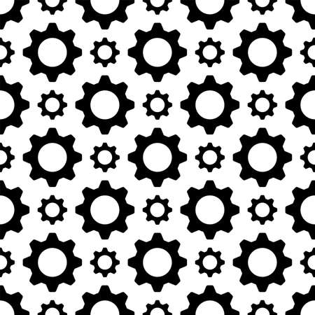 Setting Icon Seamless Pattern, Gear, User Preference Setting Vector Art Illustration