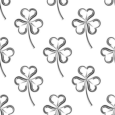 Shamrock Three Leaf Clover Seamless Pattern Vector Art Illustration