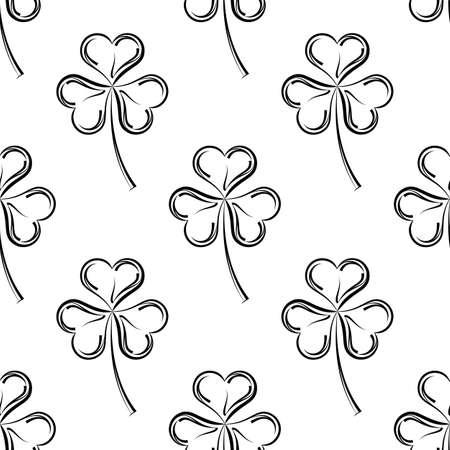 Shamrock Three Leaf Clover Seamless Pattern Vector Art Illustration