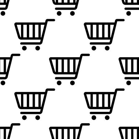 Shopping Cart Icon Seamless Pattern Vector Art Illustration