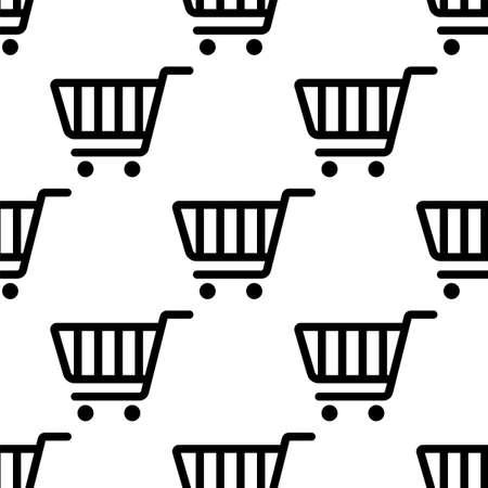 Shopping Cart Icon Seamless Pattern Vector Art Illustration