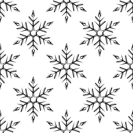 Snowflake, Snow, Ice Crystal Shape Seamless Pattern Vector Art Illustration  イラスト・ベクター素材