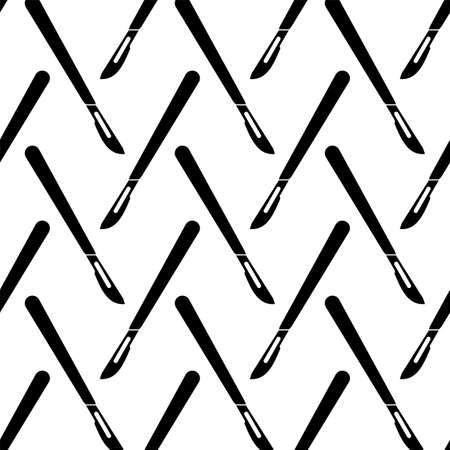 Surgical Scalpel Icon Seamless Pattern Vector Art Illustration