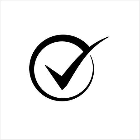 Tick Mark Icon, Check Mark, Right Mark, Vector Art Illustration Illustration