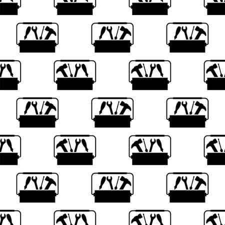 Toolbox Icon Seamless Pattern, Tool Box Icon Vector Art Illustration Illustration