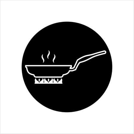 Pan Heating Icon, Frying Pan On Fire Icon Vector Art Illustration Vettoriali