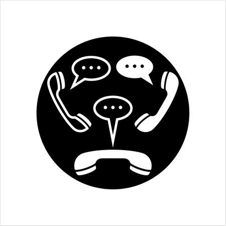 Telephone Receiver Chatting Icon Vector Art Illustration