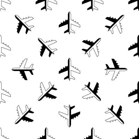 Airplane Icon Seamless Pattern Vector Art Illustration