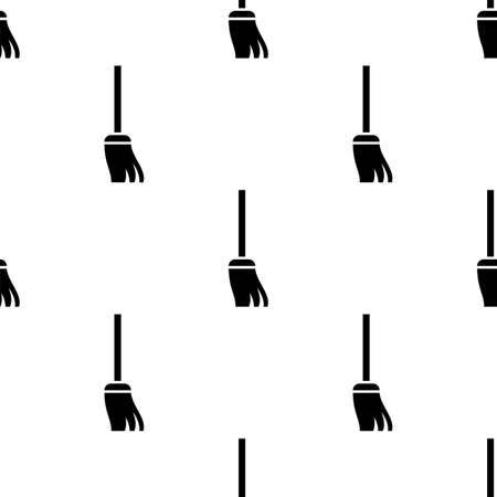 Broom Icon, Cleaning Broom Seamless Pattern Vector Art Illustration