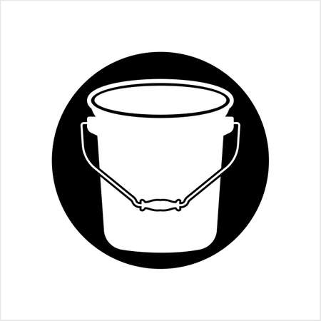 Bucket Icon, Water Bucket Icon Vector Art Illustration Ilustração