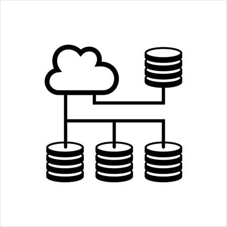 Cloud Database Icon, Data Base Icon Vector Art Illustration  イラスト・ベクター素材